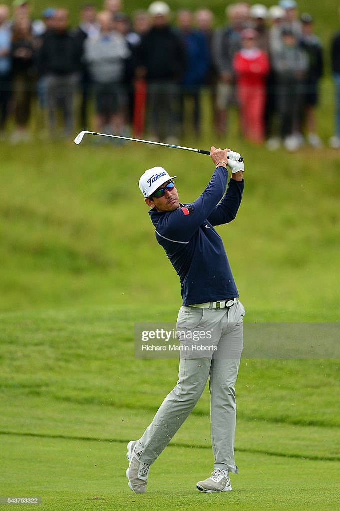 Rafa Cabrera-Bello of Spain hits his 2nd shot on the 13th hole during the first round of the 100th Open de France at Le Golf National on June 30, 2016 in Paris, France.