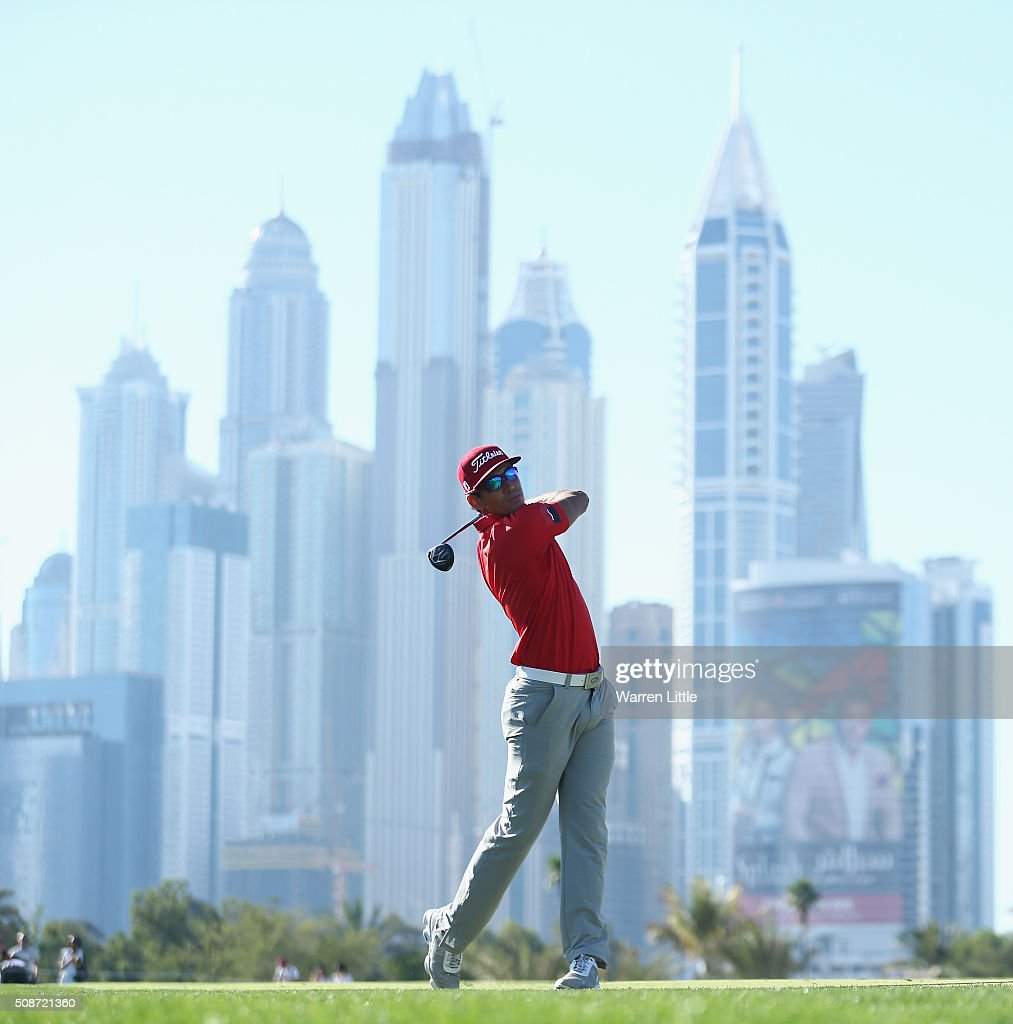 Rafa Cabrera-Bello of Spain hits his second shot on the 13th hole during the third round of the Omega Dubai Desert Classic at the Emirates Golf Club on February 6, 2016 in Dubai, United Arab Emirates.