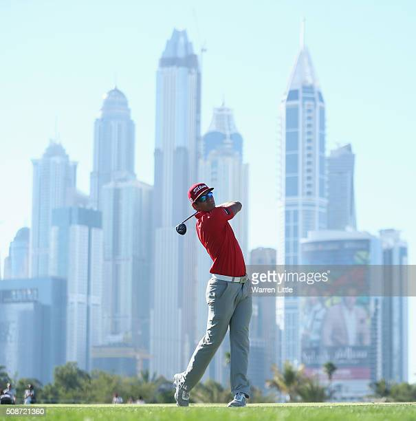 Rafa CabreraBello of Spain hits his second shot on the 13th hole during the third round of the Omega Dubai Desert Classic at the Emirates Golf Club...