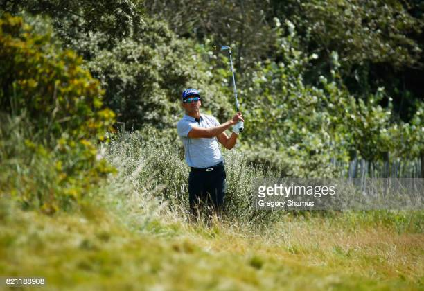 Rafa CabreraBello of Spain hits his second shot on the 1st hole during the final round of the 146th Open Championship at Royal Birkdale on July 23...