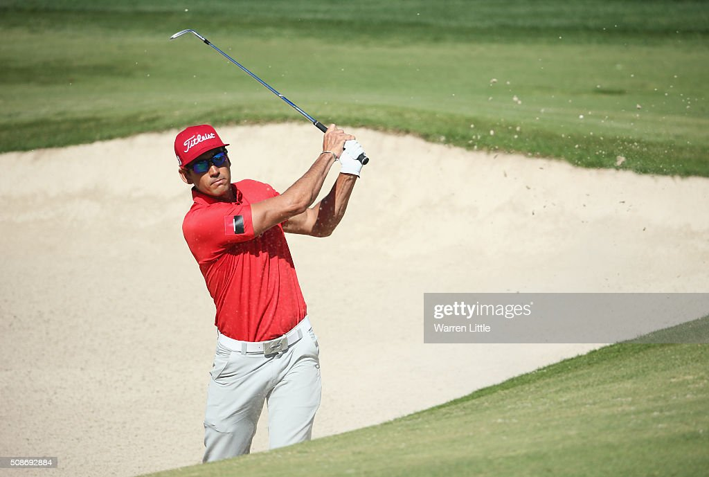 Rafa Cabrera-Bello of Spain holes his bunker shot for eagle on the 3rd hole during the third round of the Omega Dubai Desert Classic at the Emirates Golf Club on February 6, 2016 in Dubai, United Arab Emirates.