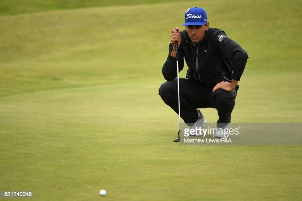 Rafa CabreraBello of Spain lines up a putt during the final round of the 146th Open Championship at Royal Birkdale on July 23 2017 in Southport...