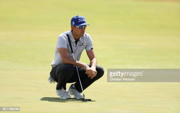 Rafa CabreraBello of Spain lines up a putt on the 1st green during the final round of the 146th Open Championship at Royal Birkdale on July 23 2017...
