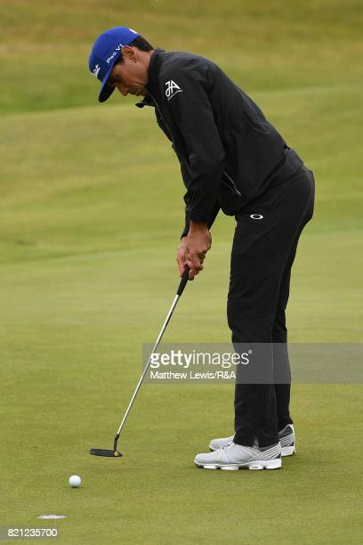 Rafa CabreraBello of Spain makes a birdie on the 13th hole during the final round of the 146th Open Championship at Royal Birkdale on July 23 2017 in...
