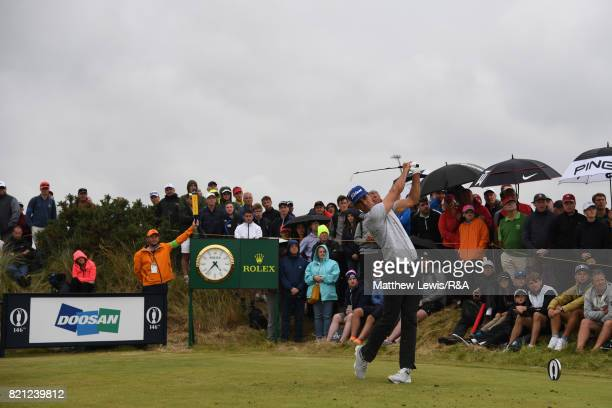 Rafa CabreraBello of Spain on the 14th tee during the final round of the 146th Open Championship at Royal Birkdale on July 23 2017 in Southport...