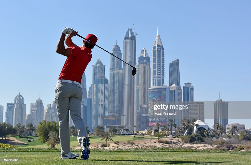 Rafa Cabrera-Bello of Spain on the 8th tee during the third round of the Omega Dubai Desert Classic on the Majlis course at the Emirates Golf Club on February 6, 2016 in Dubai, United Arab Emirates.