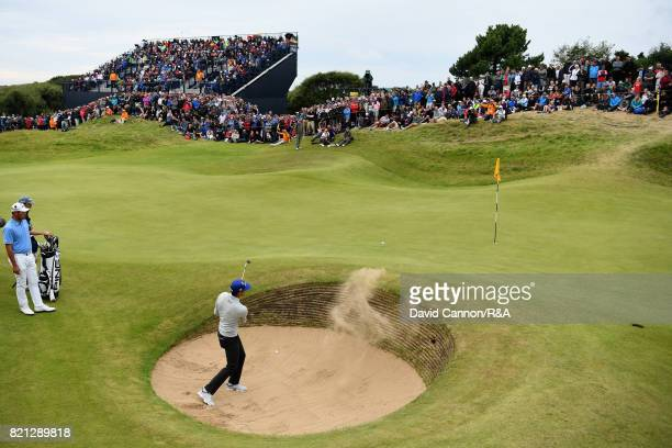 Rafa CabreraBello of Spain plays a bunker shot on the 17th hole during the final round of the 146th Open Championship at Royal Birkdale on July 23...