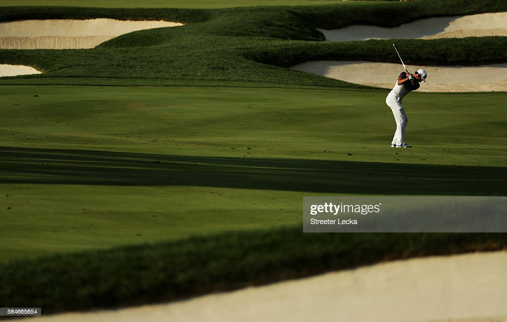 Rafa CabreraBello of Spain plays a shot on the 17th hole during the second round of the 2016 PGA Championship at Baltusrol Golf Club on July 29 2016...