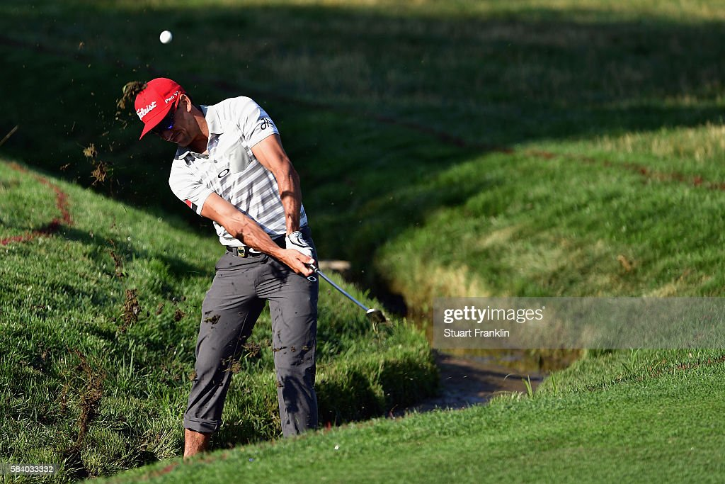 Rafa CabreraBello of Spain plays a shot on the tenth hole during the first round of the 2016 PGA Championship at Baltusrol Golf Club on July 28 2016...