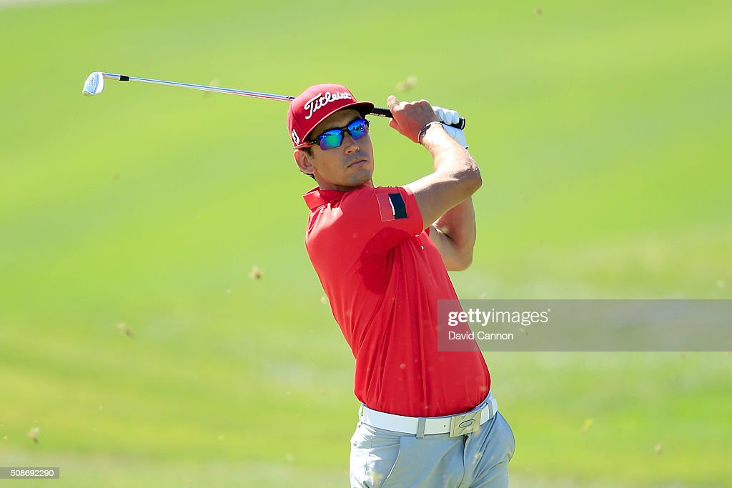 Rafa Cabrera-Bello of Spain plays his second shot at the par 4, first hole during the third round of the 2016 Omega Dubai Desert Classic on the Majlis Course at the Emirates Golf Club on February 6, 2016 in Dubai, United Arab Emirates.