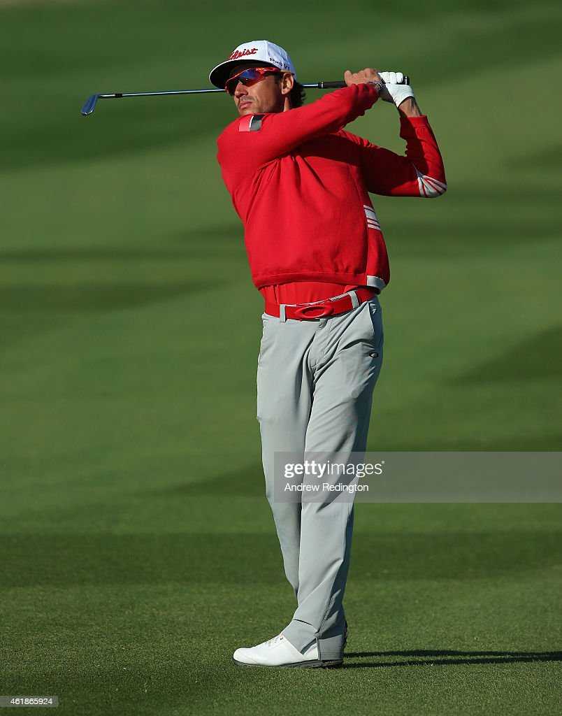 Rafa Cabrera-Bello of Spain plays his second shot on the 15th hole during the first round of the Commercial Bank Qatar Masters at Doha Golf Club on January 21, 2015 in Doha, Qatar.