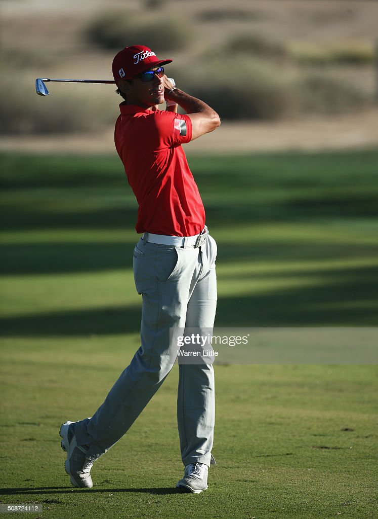 Rafa Cabrera-Bello of Spain plays his second shot on the 16th hole during the third round of the Omega Dubai Desert Classic at the Emirates Golf Club on February 6, 2016 in Dubai, United Arab Emirates.
