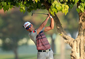 Rafa CabreraBello of Spain plays his second shot on the par 5 10th hole during the first round of the 2016 Omega Dubai Desert Classic on the Majlis...