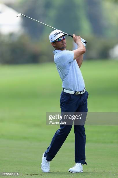Rafa CabreraBello of Spain plays his second shot on the second hole during the first round of the 2017 PGA Championship at Quail Hollow Club on...