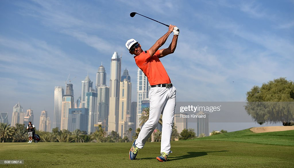 Rafa Cabrera-Bello of Spain plays his secons shot on the par four 13th hole during the pro-am event prior to the Omega Dubai Desert Classic on the Majlis course at the Emirates Golf Club on February 3, 2016 in Dubai, United Arab Emirates.