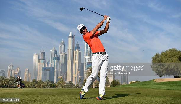 Rafa CabreraBello of Spain plays his secons shot on the par four 13th hole during the proam event prior to the Omega Dubai Desert Classic on the...