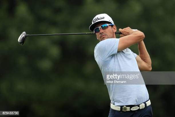 Rafa CabreraBello of Spain plays his shot from the eighth tee during the first round of the 2017 PGA Championship at Quail Hollow Club on August 10...