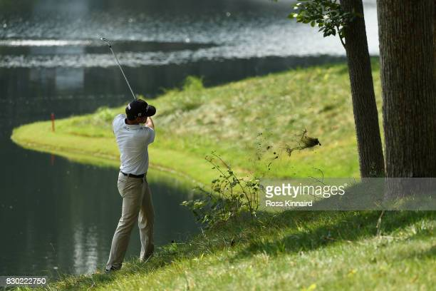 Rafa CabreraBello of Spain plays his shot on the 16th green during the second round of the 2017 PGA Championship at Quail Hollow Club on August 11...
