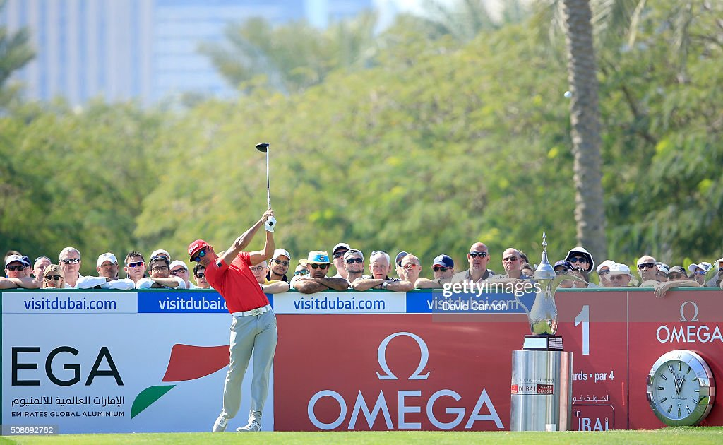 Rafa Cabrera-Bello of Spain plays his tee shot at the par 4, first hole during the third round of the 2016 Omega Dubai Desert Classic on the Majlis Course at the Emirates Golf Club on February 6, 2016 in Dubai, United Arab Emirates.