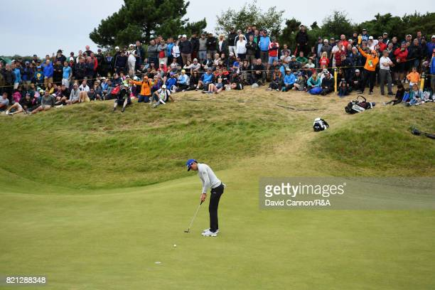 Rafa CabreraBello of Spain putts during the final round of the 146th Open Championship at Royal Birkdale on July 23 2017 in Southport England