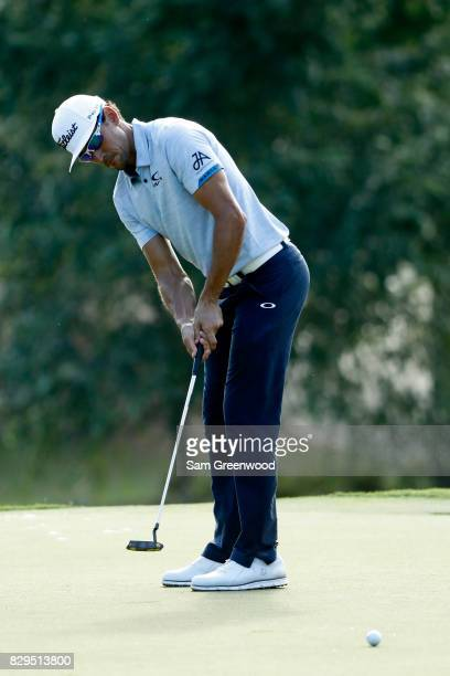 Rafa CabreraBello of Spain putts on the 13th green during the first round of the 2017 PGA Championship at Quail Hollow Club on August 10 2017 in...
