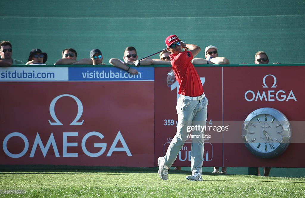 Rafa Cabrera-Bello of Spain tees off on the 17th hole during the third round of the Omega Dubai Desert Classic at the Emirates Golf Club on February 6, 2016 in Dubai, United Arab Emirates.