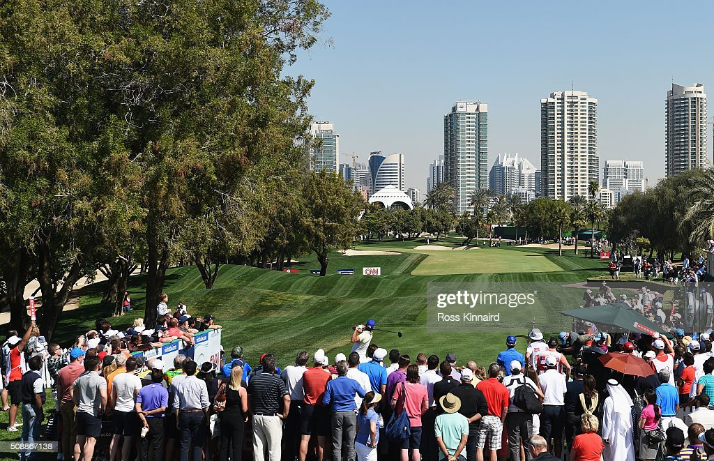 Rafa Cabrera-Bello of Spain tees off on the 1st hole during the final round of the Omega Dubai Desert Classic at the Emirates Golf Club on February 7, 2016 in Dubai, United Arab Emirates.