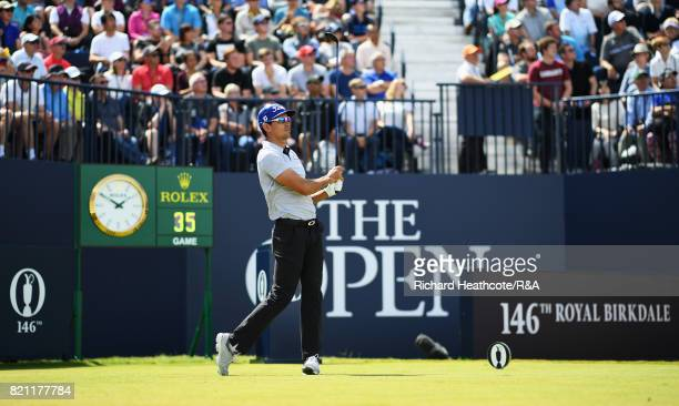 Rafa CabreraBello of Spain tees off on the 1st hole during the final round of the 146th Open Championship at Royal Birkdale on July 23 2017 in...