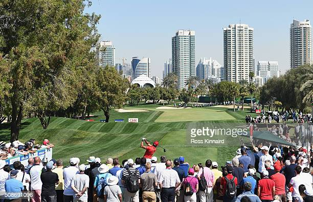 Rafa CabreraBello of Spain tees off on the 1st hole during the third round of the Omega Dubai Desert Classic at the Emirates Golf Club on February 6...