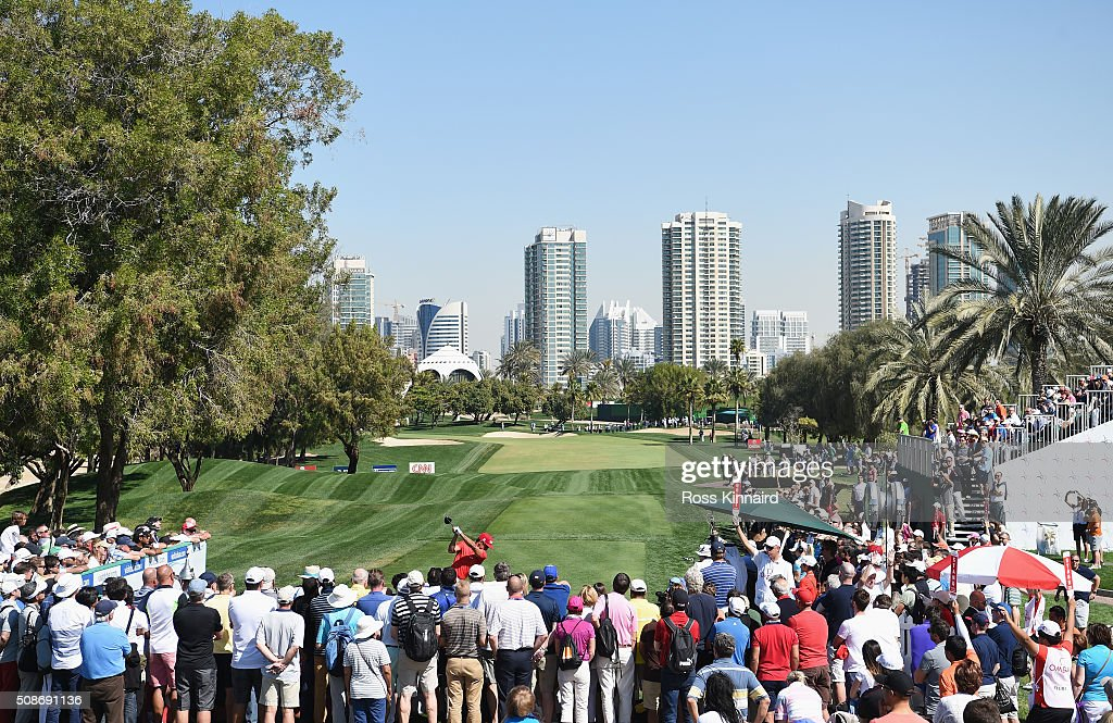 Rafa Cabrera-Bello of Spain tees off on the 1st hole during the third round of the Omega Dubai Desert Classic at the Emirates Golf Club on February 6, 2016 in Dubai, United Arab Emirates.