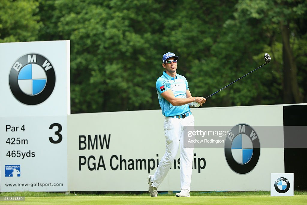 Rafa Cabrera-Bello of Spain tees off on the 3rd hole during day three of the BMW PGA Championship at Wentworth on May 28, 2016 in Virginia Water, England.