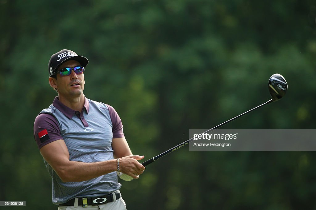Rafa Cabrera-Bello of Spain tees off on the 3rd hole during day two of the BMW PGA Championship at Wentworth on May 27, 2016 in Virginia Water, England.