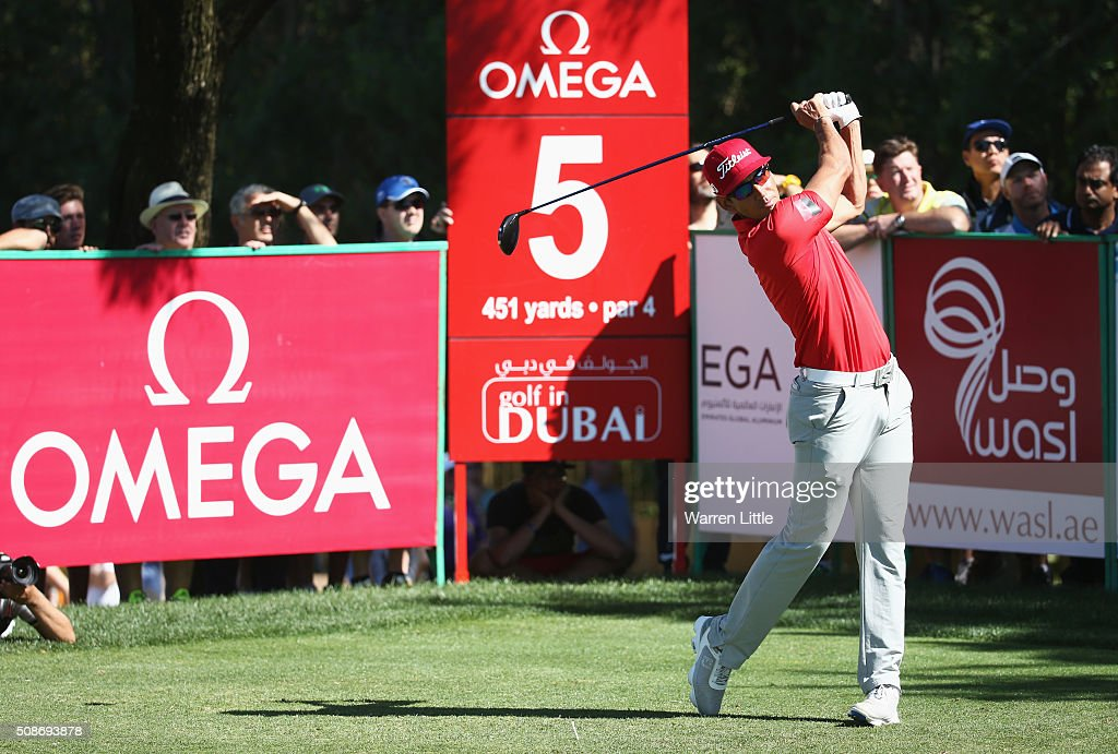 Rafa Cabrera-Bello of Spain tees off on the 5th hole during the third round of the Omega Dubai Desert Classic at the Emirates Golf Club on February 6, 2016 in Dubai, United Arab Emirates.
