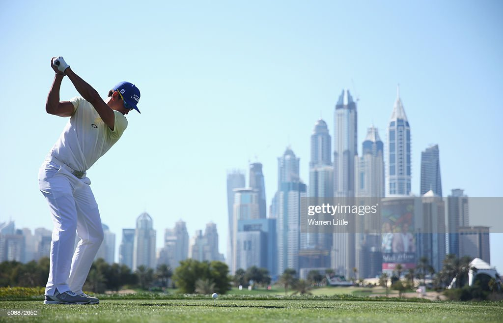 Rafa Cabrera-Bello of Spain tees off on the 8th hole during the final round of the Omega Dubai Desert Classic at the Emirates Golf Club on February 7, 2016 in Dubai, United Arab Emirates.