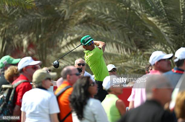 Rafa CabreraBello of Spain tees off on the 9th hole during the second round of the Abu Dhabi HSBC Championship at the Abu Dhabi Golf Club on January...