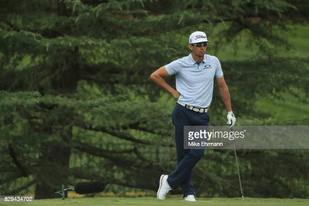 Rafa CabreraBello of Spain waits to play his shot on the seventh hole during the first round of the 2017 PGA Championship at Quail Hollow Club on...