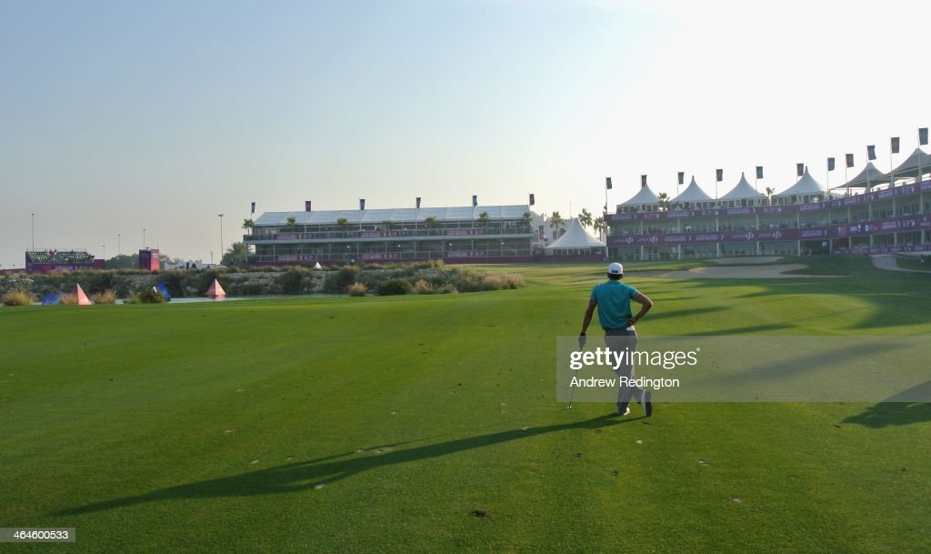 Rafa CabreraBello of Spain waits to play his third shot on the 18th hole during the second round of the Commercial Bank Qatar Masters at Doha Golf...