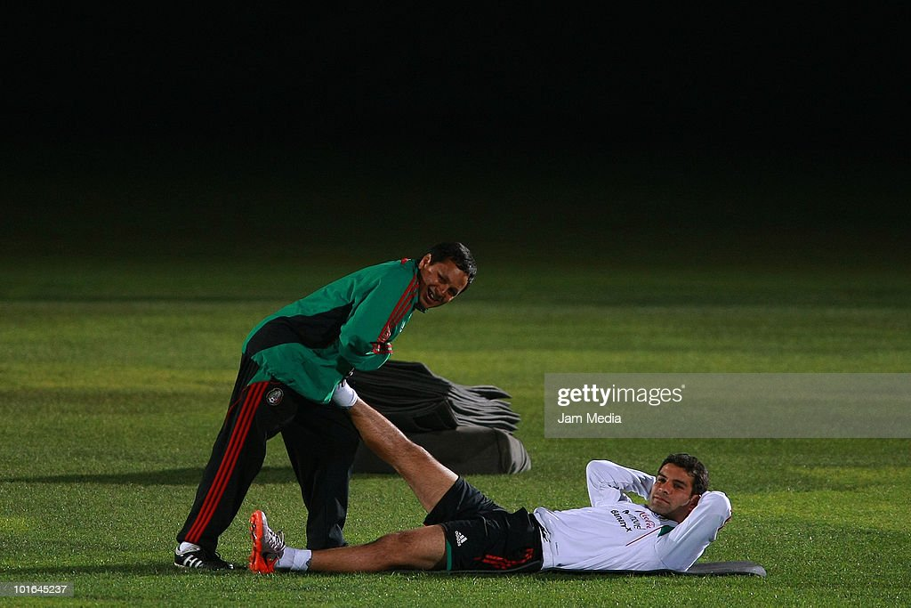 Rafa Marquez (R) of Mexico during a training session at Waterstone College as part of their preparation for FIFA 2010 World Cup on June 5, 2010 in Johannesburg, South Africa.