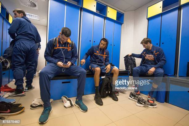 Rafa Martinez #17 of Valencia Basket Erick Green #32 and Aaron Doornekamp #42 at dressing room prior the 2017/2018 Turkish Airlines EuroLeague...