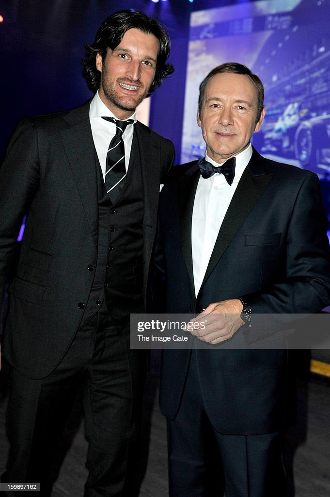 Rafa Medina and <a gi-track='captionPersonalityLinkClicked' href=/galleries/search?phrase=Kevin+Spacey&family=editorial&specificpeople=202091 ng-click='$event.stopPropagation()'>Kevin Spacey</a> attend the IWC Schaffhausen Race Night event during the Salon International de la Haute Horlogerie (SIHH) 2013 at Palexpo on January 22, 2013 in Geneva, Switzerland.