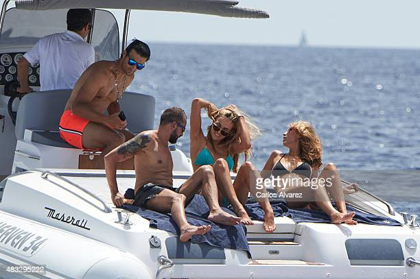 Rafa Medina his wife Laura Vecino and development driver for Lotus F1 Team for the 2015 Carmen Jorda on board of tender of Maserati during the 34th...