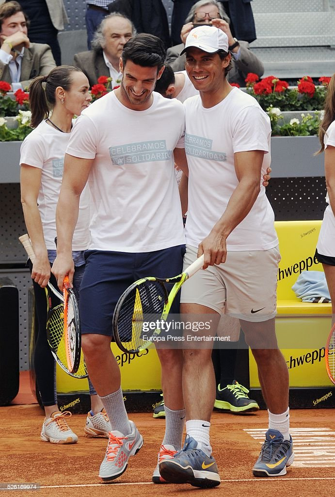 Rafa Nadal (R) and Aitor Ocio attend Charity Day Tournament during Mutua Madrid Open at La Caja Magica on April 29, 2016 in Madrid, Spain.