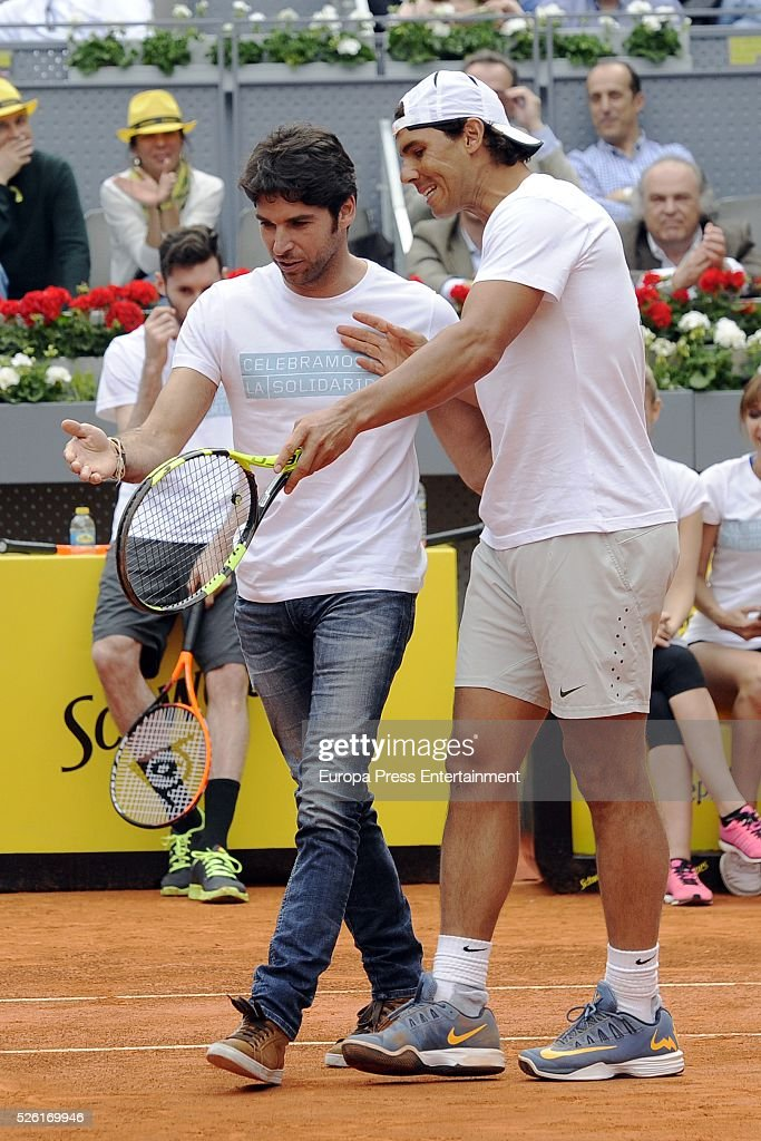 Rafa Nadal (R) and Cayetano Rivera attend Charity Day Tournament during Mutua Madrid Open at La Caja Magica on April 29, 2016 in Madrid, Spain.