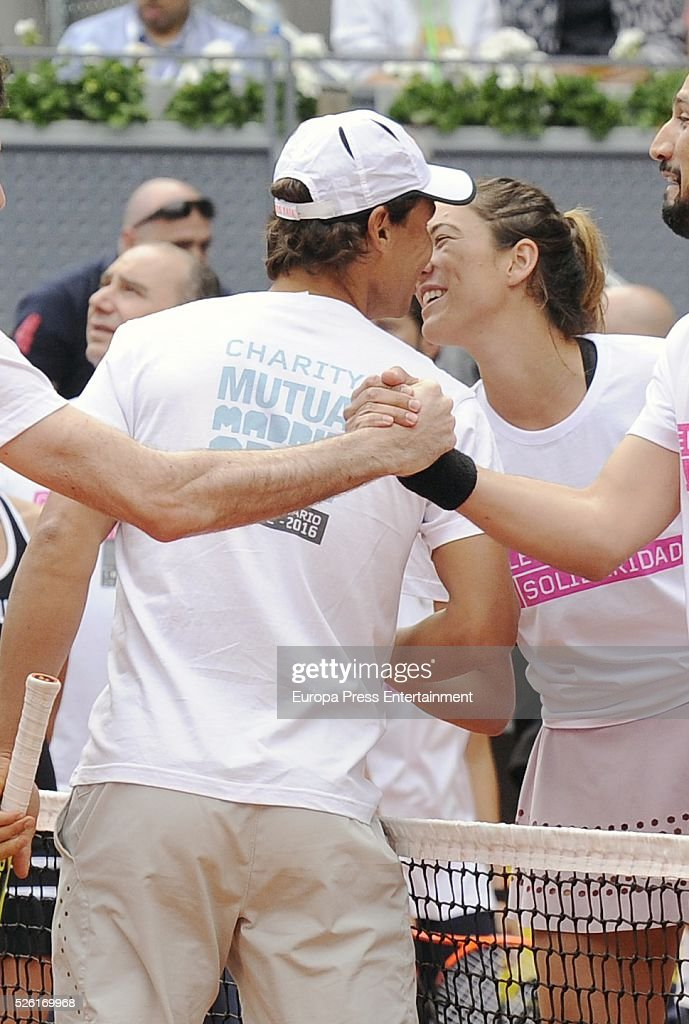 Rafa Nadal and Garbine Muguruza attends Charity Day Tournament during Mutua Madrid Open at La Caja Magica on April 29, 2016 in Madrid, Spain.