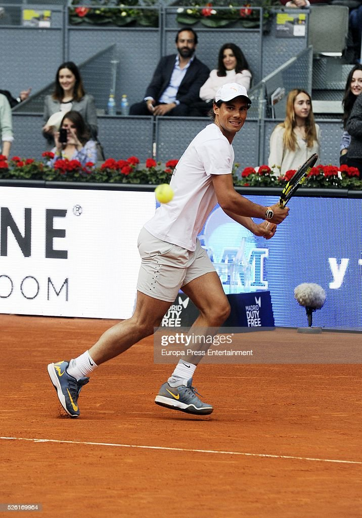 Rafa Nadal attends Charity Day Tournament during Mutua Madrid Open at La Caja Magica on April 29, 2016 in Madrid, Spain.