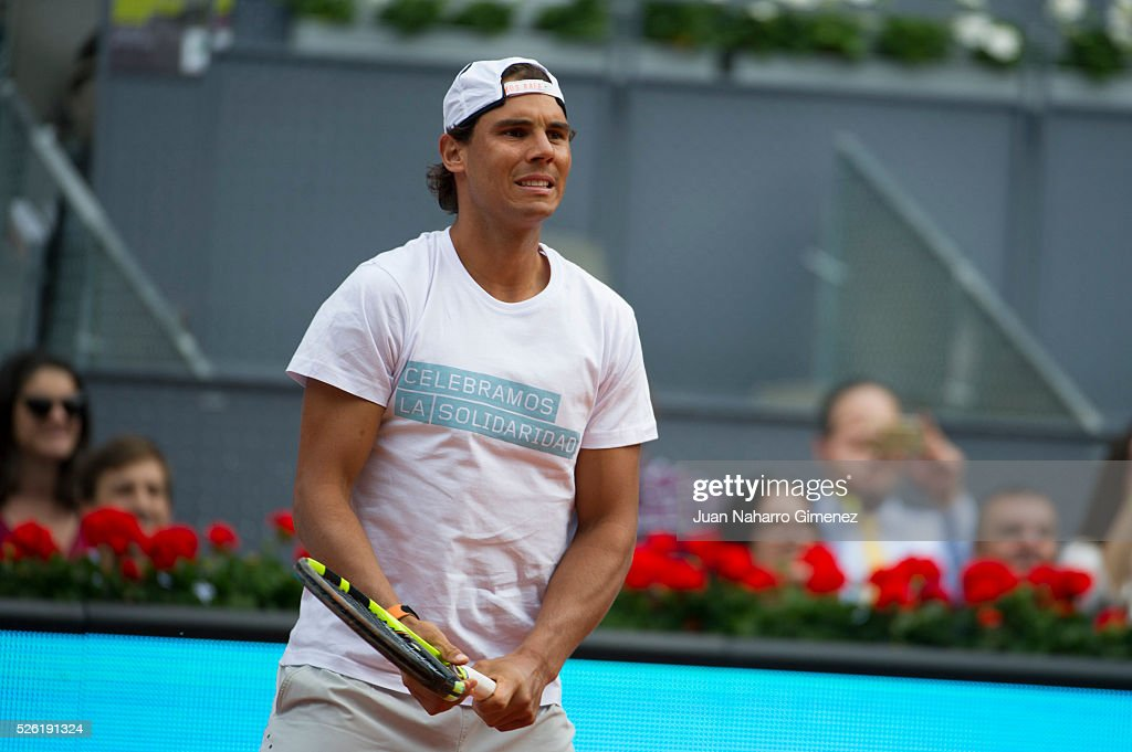 Rafa Nadal attends Charity day tournament during Mutua Madrid Open at Caja magica on April 29, 2016 in Madrid, .