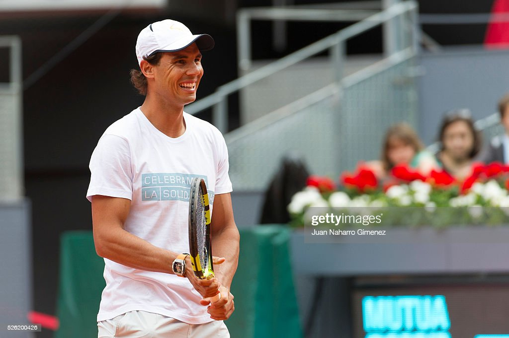 Rafa Nadal attends Charity day tournament during Mutua Madrid Open at Caja magica on April 29, 2016 in Madrid, Spain.