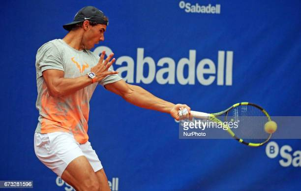 Rafa Nadal during the training at the Barcelona Open Banc Sabadell on April 26 2017