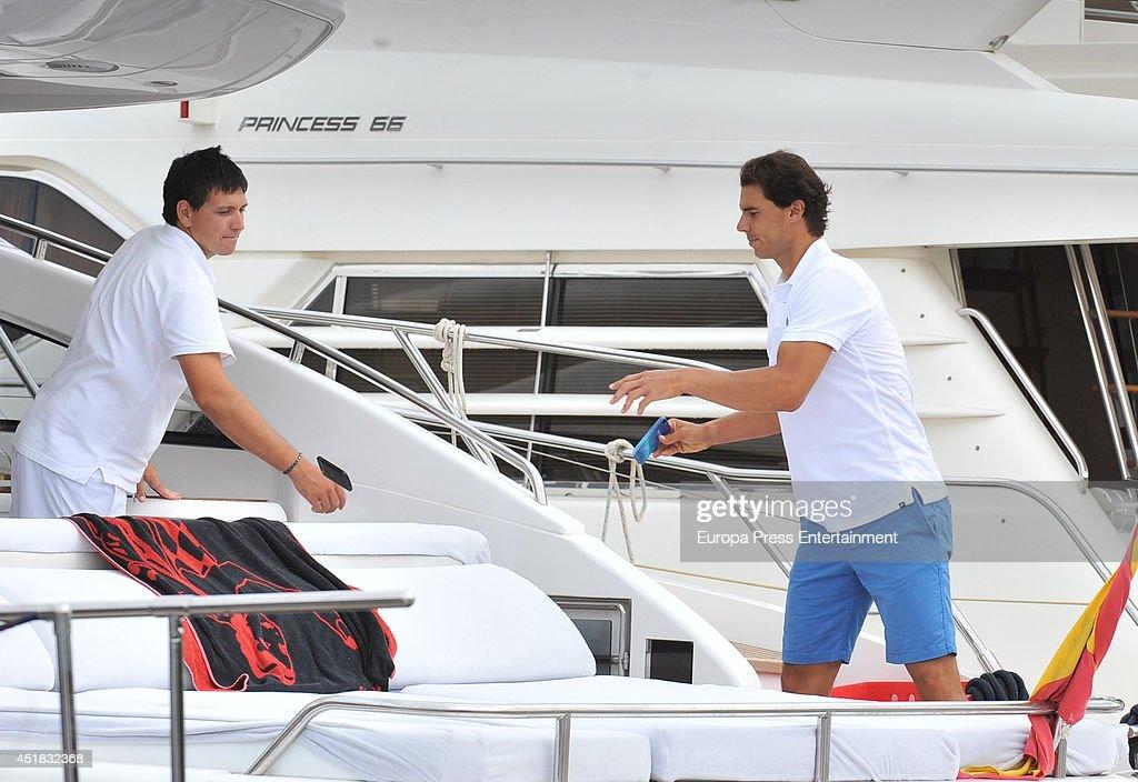 Rafa Nadal (R) is seen on July 7, 2014 in Ibiza, Spain.