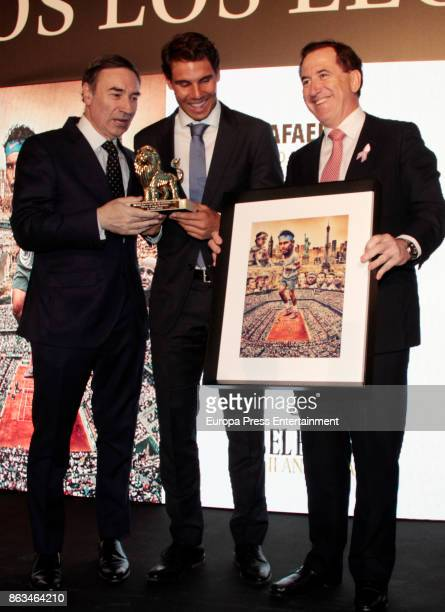 Rafa Nadal receives from the hands of Pedro J Ramirez 'Los Leones' Awards 2017 on October 19 2017 in Madrid Spain